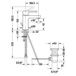 Duravit B.2 B21010001010, Смеситель для раковины, цвет хром