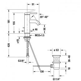 Duravit C.1 C11010001046 Смеситель для раковины S черный