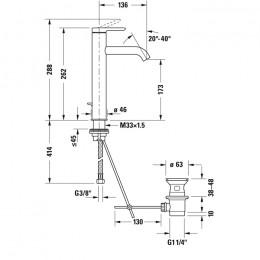 Duravit C.1 C11030001046 Однорычажный смеситель для раковины L черный