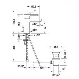 Duravit B.2 B21020001010, Смеситель для раковины, цвет хром